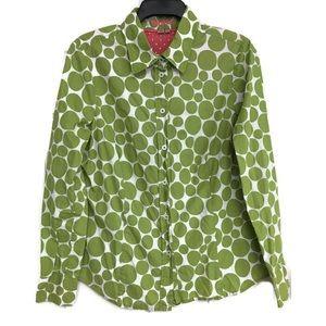 Boden Green Polka Dot Button Up Cotton Shirt 10